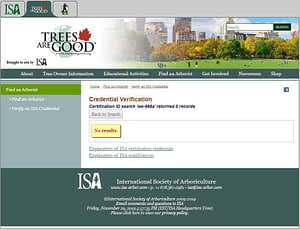 license not there searching for ISA arborist